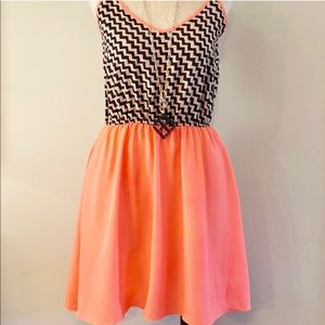 Bright Coral and Black Spring or Summer Dress